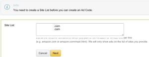 Amazon Ads site list