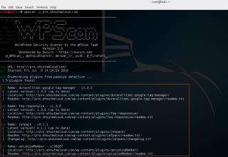 WpScan command Kali find plugins