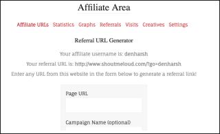 Affiliate dashboard AffiliateWP