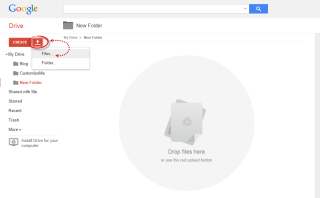 upload files using google drive