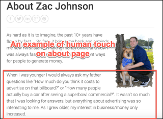 Zan johnson about page