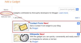 blogger gadgets, blogger widgets, contact form