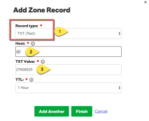 Add TXt record Godaddy Domain