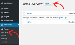 Adding a form in WordPress with WPForms
