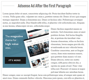 adsense inside posts, adsense placement