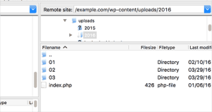 FTP view of uploads directory of a WordPress site