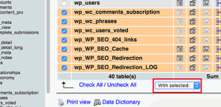 Deleting unwanted database tables using phpMyAdmin