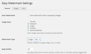 Settings page for Easy Watermark plugin