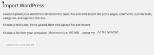 WordPress extended RSS WXR file