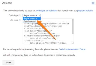 google adsense asynchronous ad code