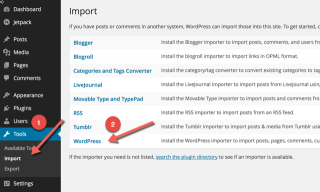 Import WordPress XMl file