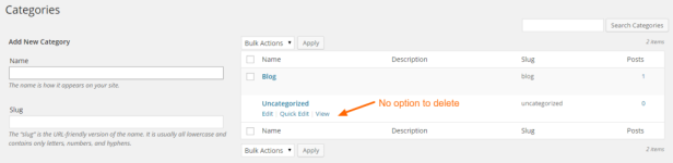 Wordpress uncategorized cant delete